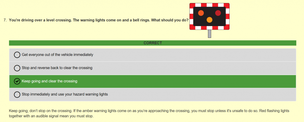 Theory Test Example Question